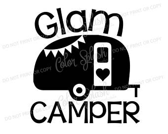 Camper clipart silhouette. Happy glamper glamping camping