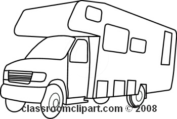 Rv black and white. Camper clipart simple