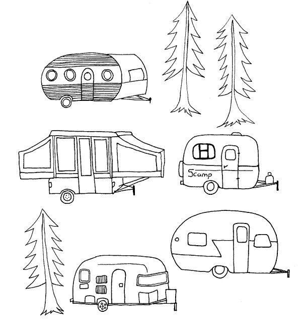 Camper clipart sketch. Camping campers blog embroidery