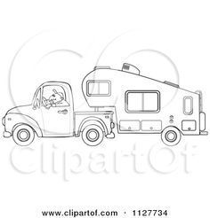 Coloring pages of th. Camper clipart sketch