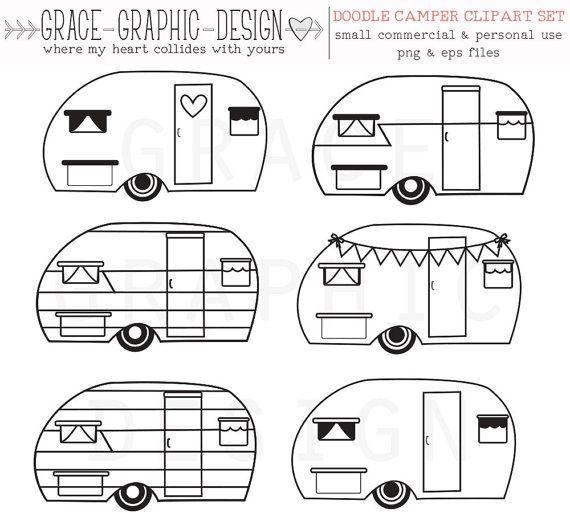 Camper clipart sketch. Retro vector commercial use