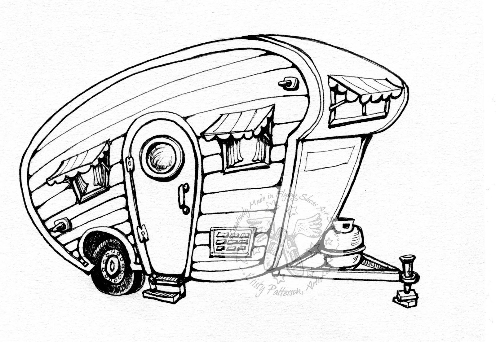 Motorhome at paintingvalley com. Camper clipart sketch