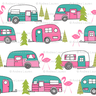 Vintage lime green and. Camper clipart summer