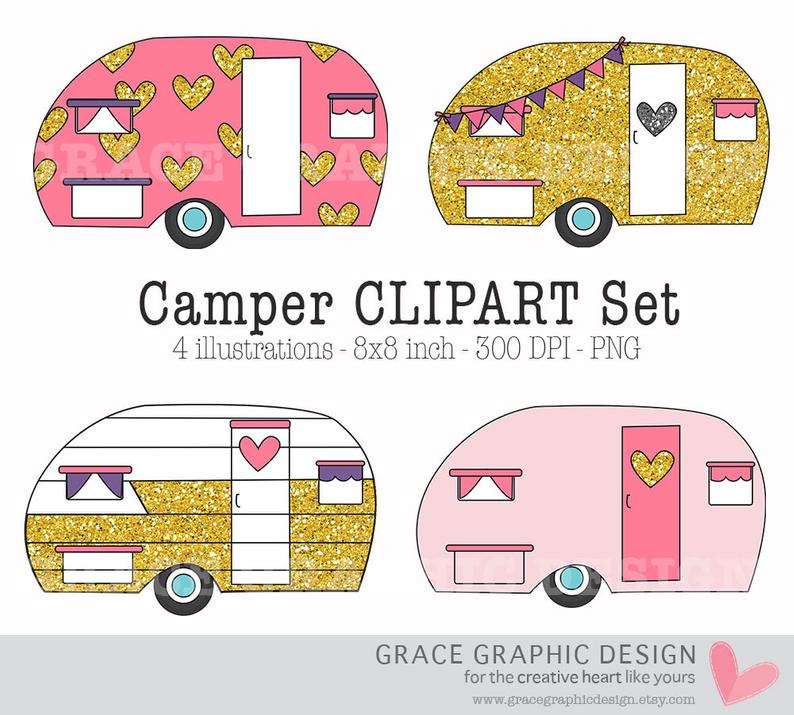 Camper clipart summer. Camping glitter instant download