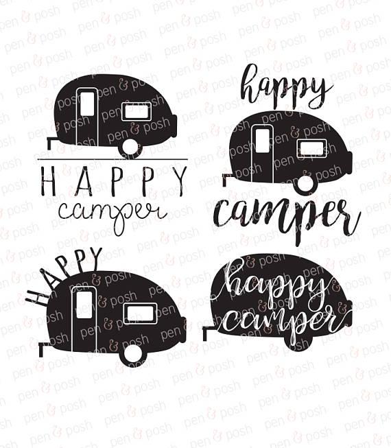 Happy camping clip art. Camper clipart svg