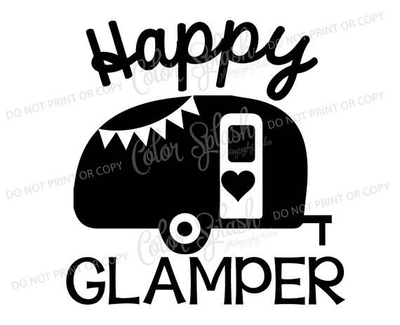 Happy glamper glamping camping. Camper clipart svg