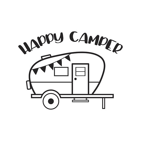 Camping happy dxf . Camper clipart svg