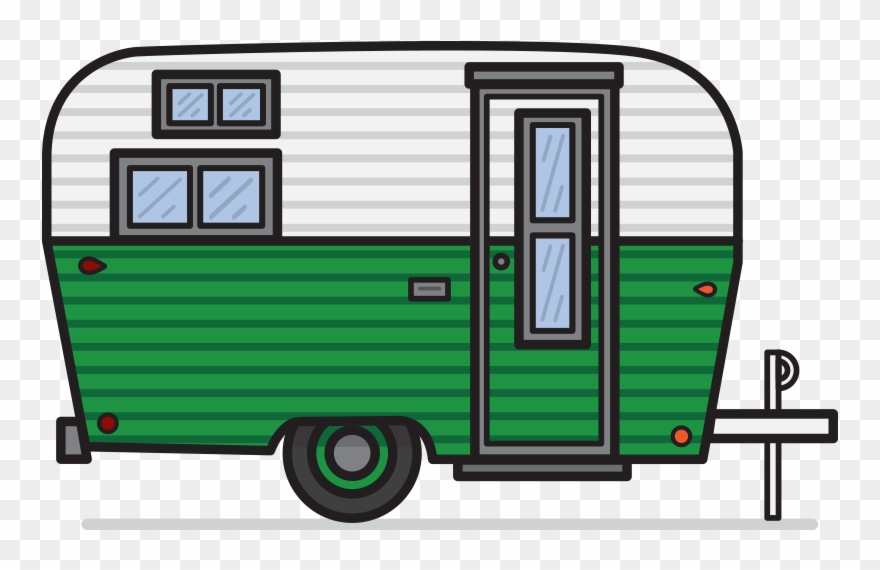 Vintage caravan in png. Camper clipart transparent background