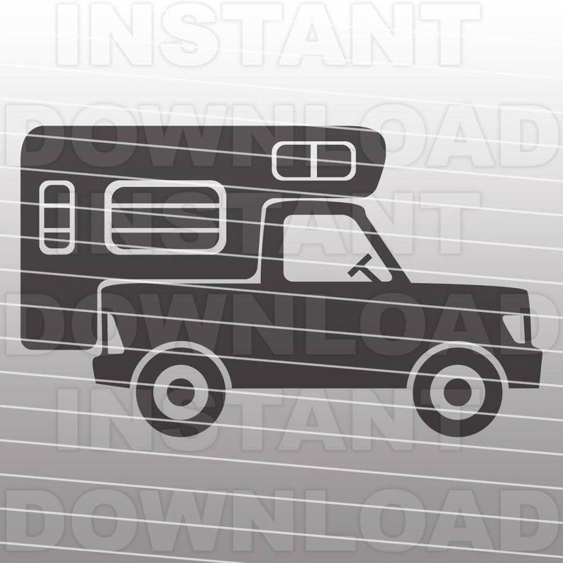 Camper clipart truck camper. Svg file retro camping