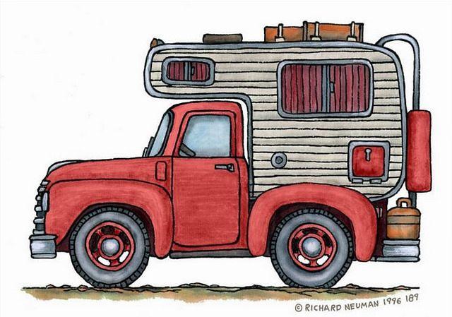 Whimsical vintage art pickup. Camper clipart truck camper