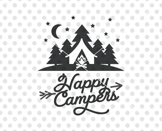 Happy campers svg dxf. Camper clipart vector