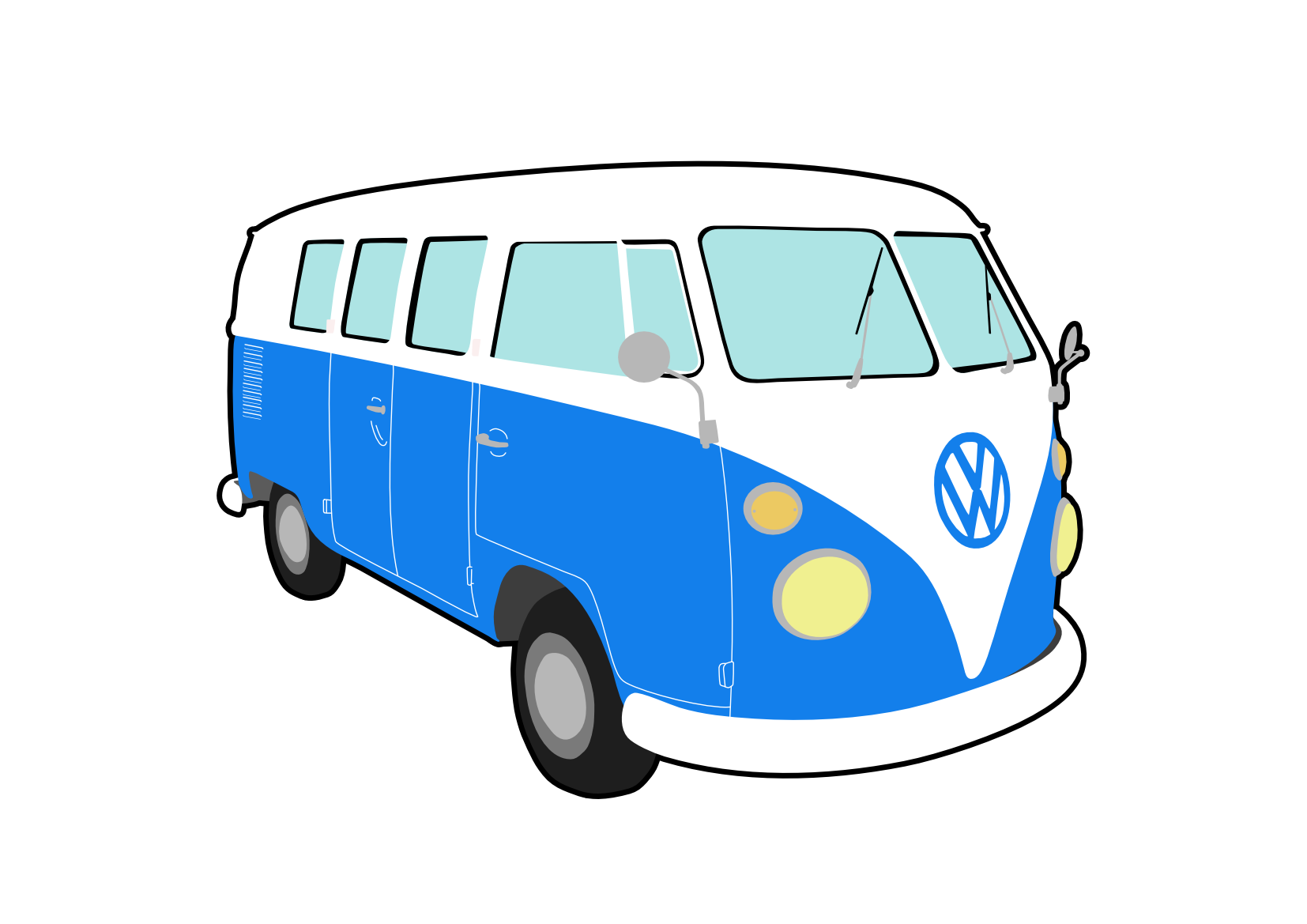 Camper clipart vector. Vw campervan pencil and