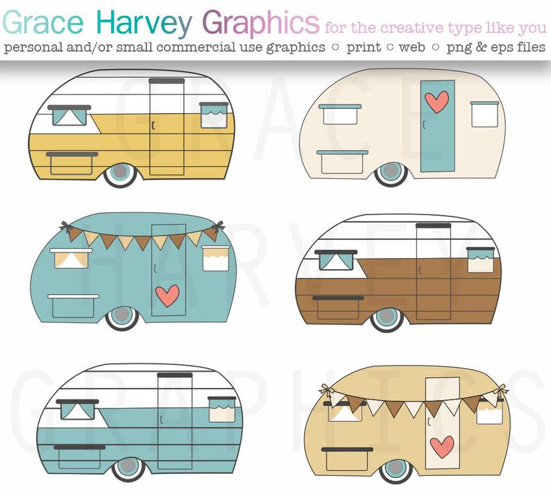 Camper clipart vector. Retro commercial use instant