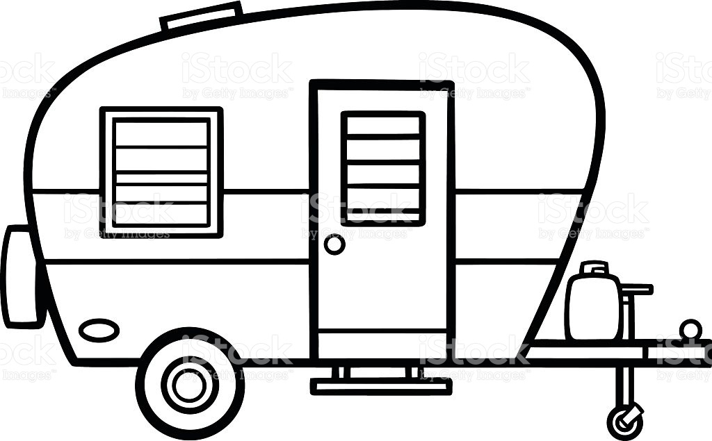 Pencil and in color. Camper clipart vector