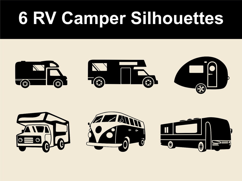 Rv silhouettes for download. Camper clipart vector