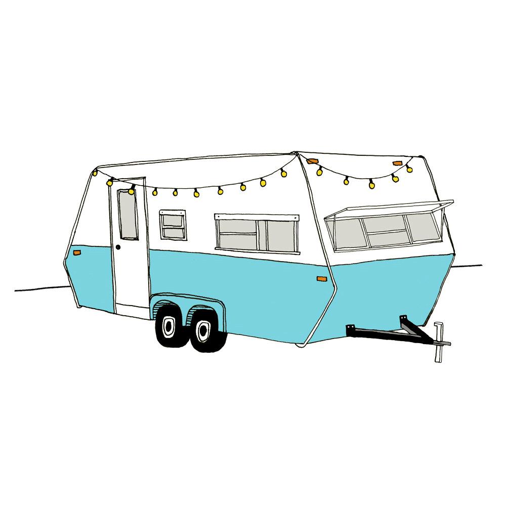 Art print rv trailer. Camper clipart vintage camper