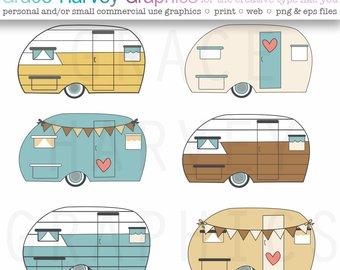 Camper clipart vintage camper. Clip art etsy retro