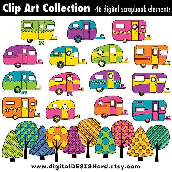 Clip art campers digital. Camper clipart vintage camper