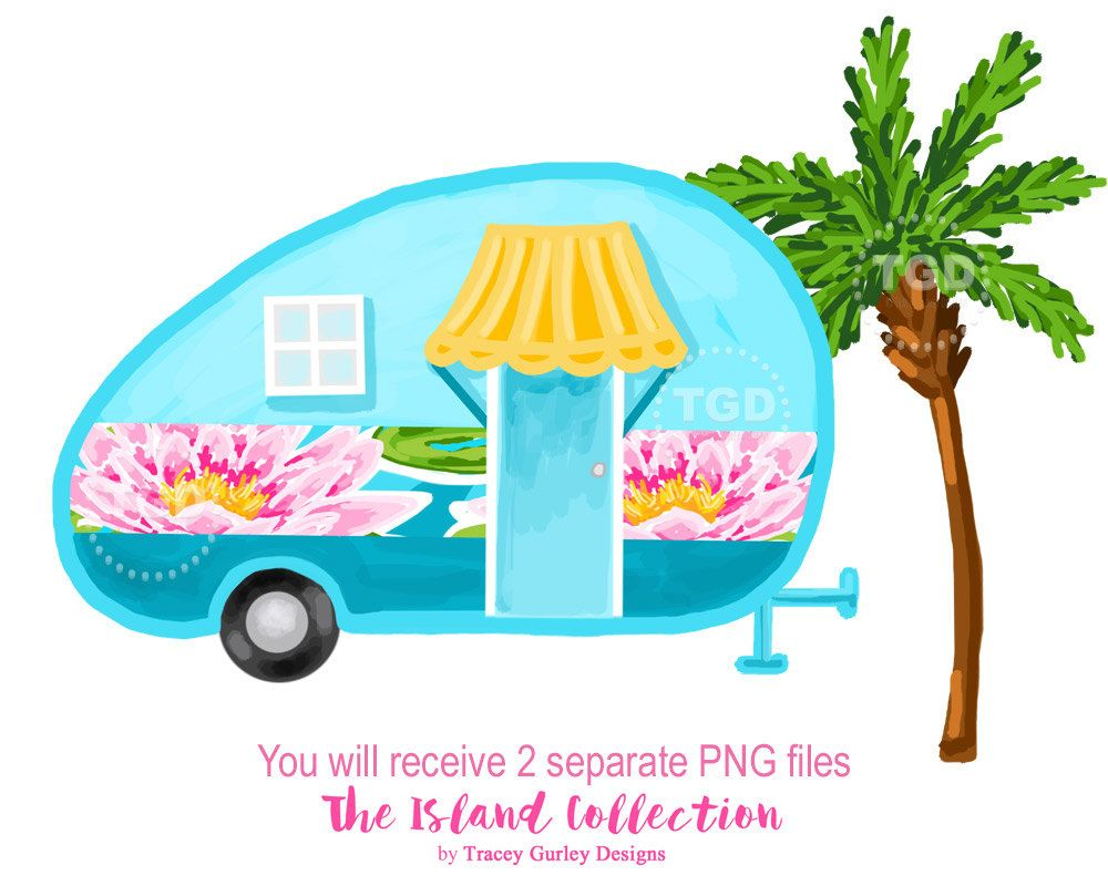 Camper clipart water. Glamping vintage preppy clip