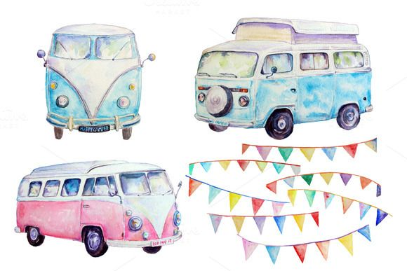 Watercolor campervan leisure vehicle. Camper clipart water