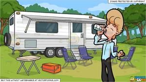 Camper clipart water. A man drinking from