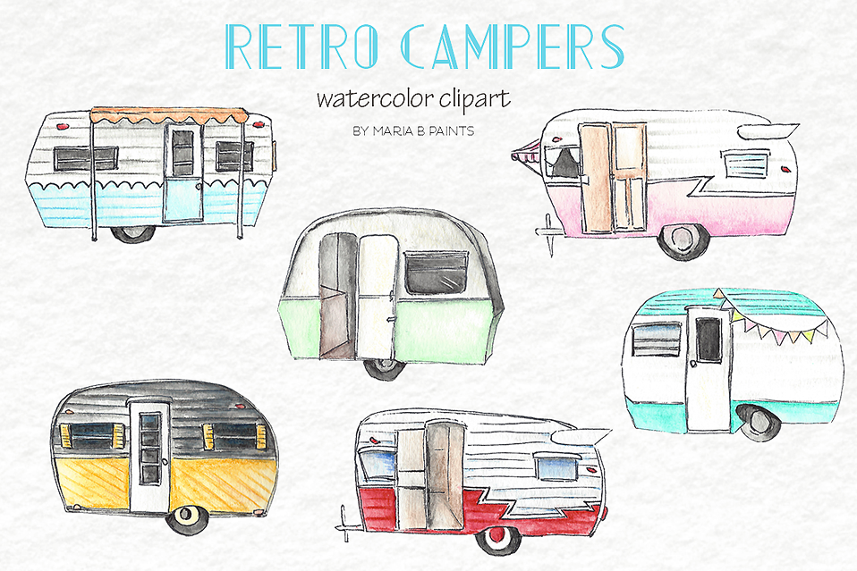 Clip art campers by. Camper clipart watercolor