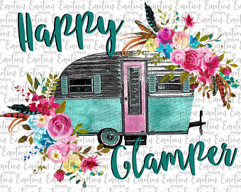 Camper clipart watercolor. Happy etsy