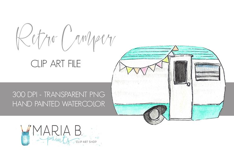 Turqouise rv . Camper clipart watercolor