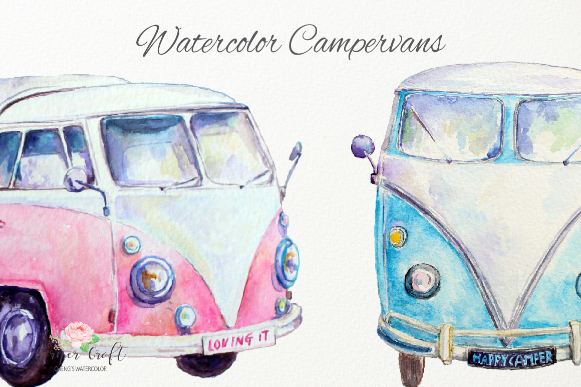 Van leisure vehicle by. Camper clipart watercolor
