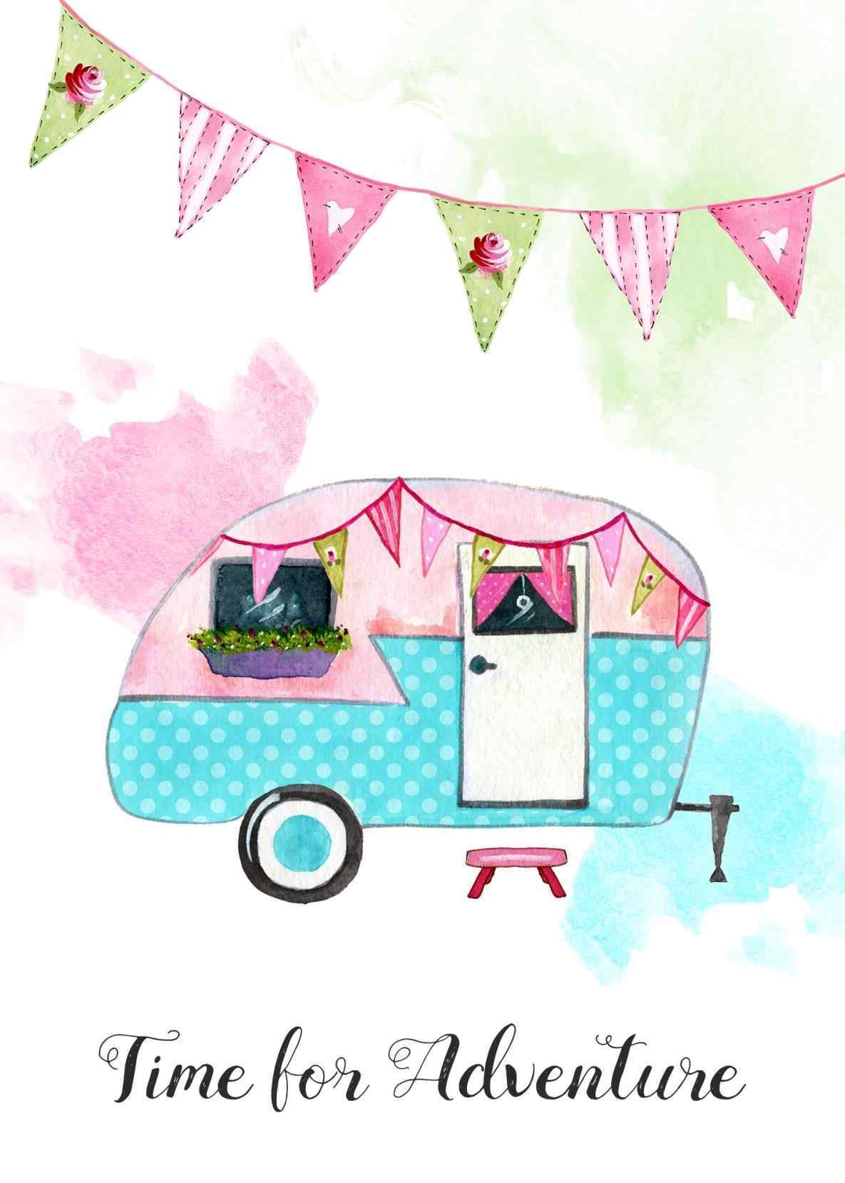 Rhwotomotivecom rv vintage show. Camper clipart watercolor