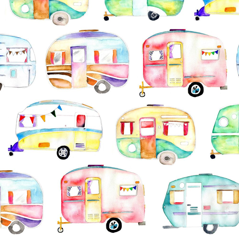 Camper clipart watercolor. Caravans fabric watercolour by
