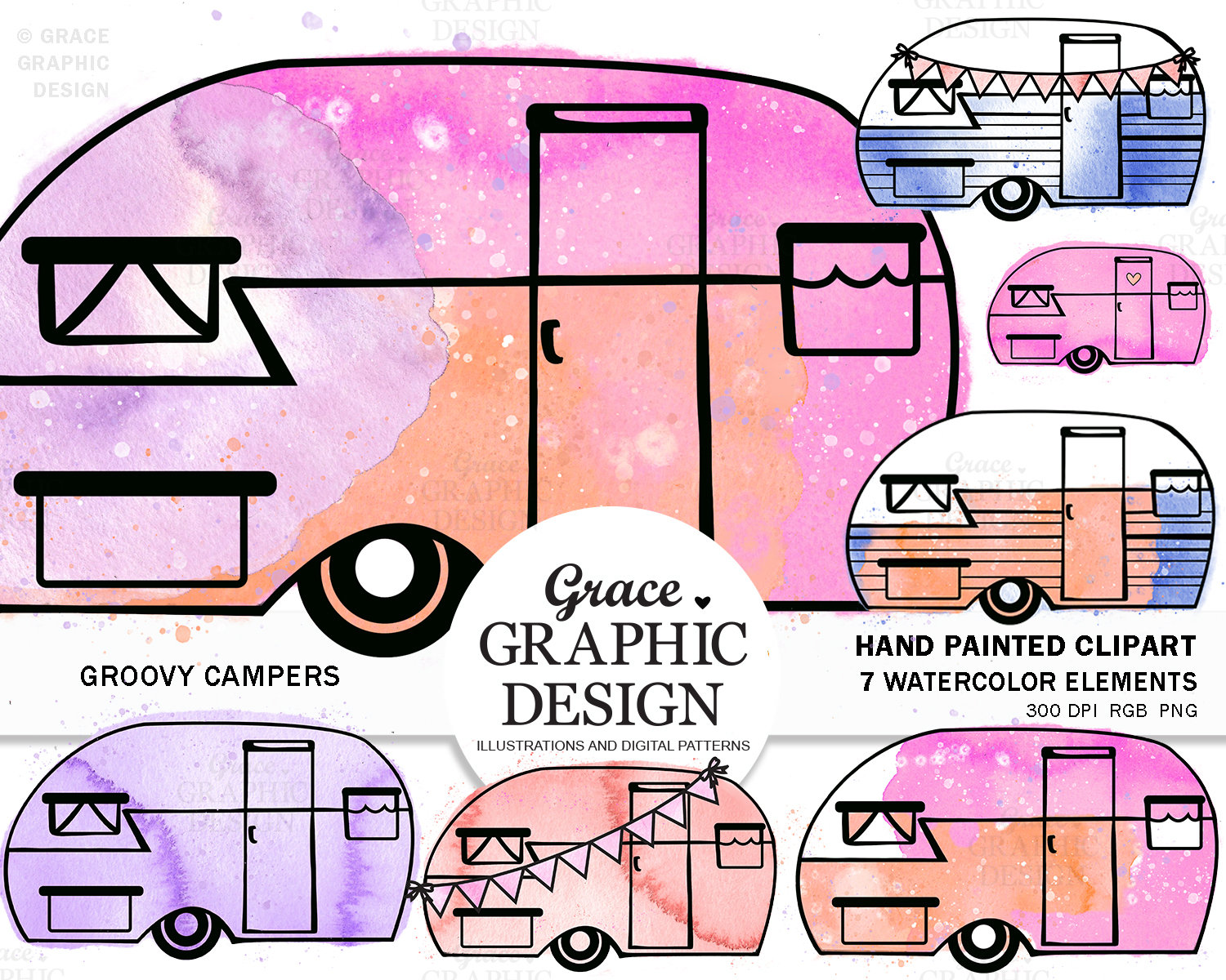 Camper clipart watercolor. Retro splash tiedye