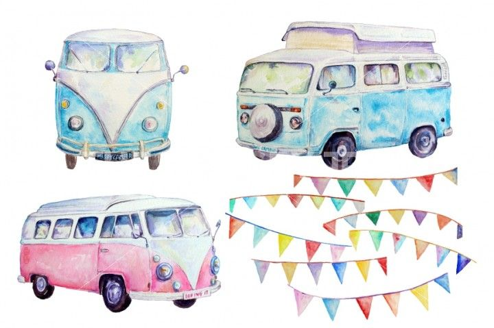 Van leisure vehicle classic. Camper clipart watercolor