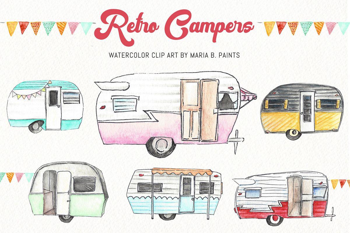 Camper clipart watercolor. Clip art campers