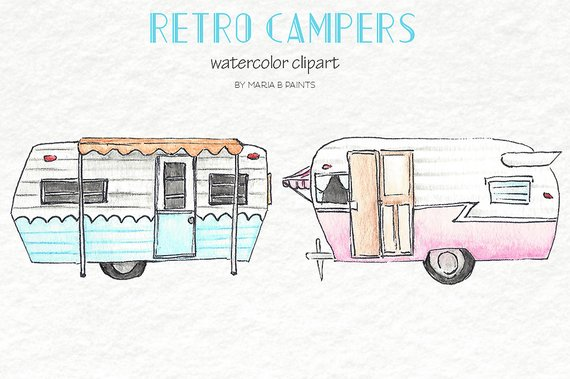 Clip art retro campers. Camper clipart watercolor