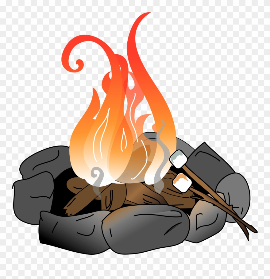 Fire pit with marshmallows. Campfire clipart