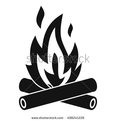 Station . Campfire clipart black and white