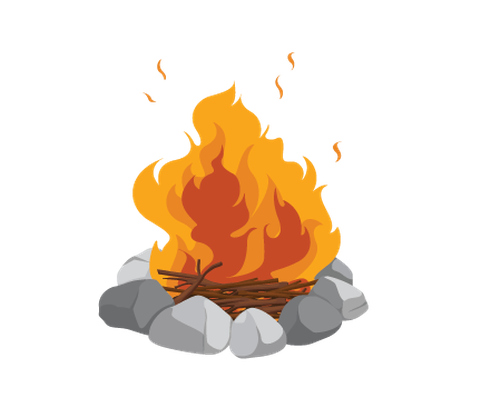Various objects of camping. Campfire clipart bonfire