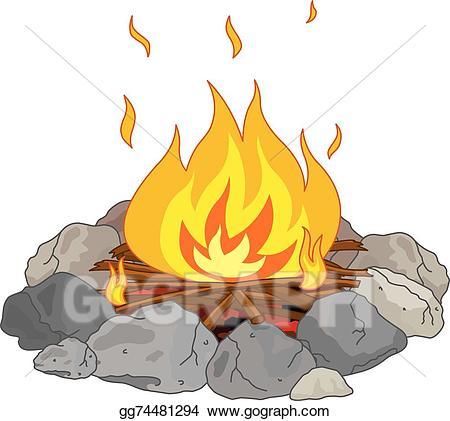 Vector illustration stock clip. Campfire clipart campfire smoke
