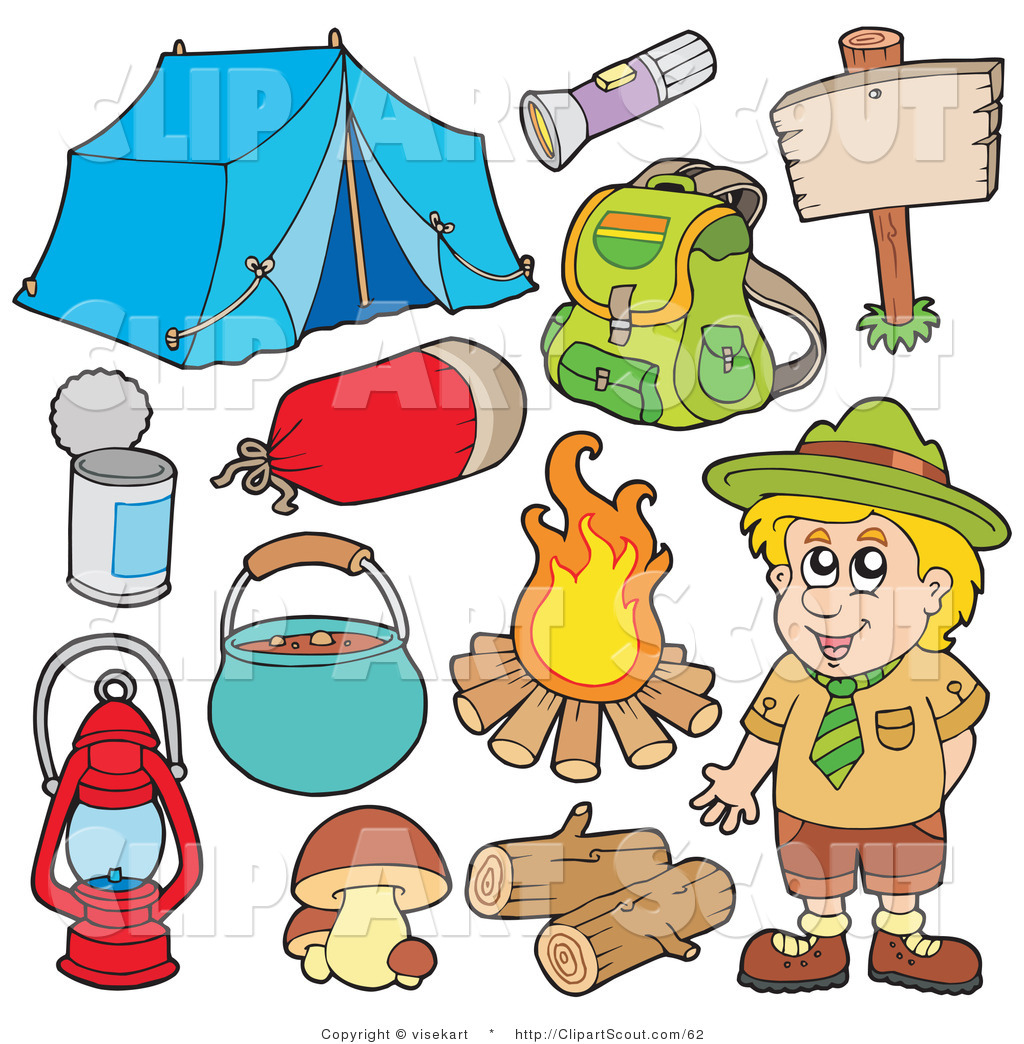 Of a digital collage. Campfire clipart campsite