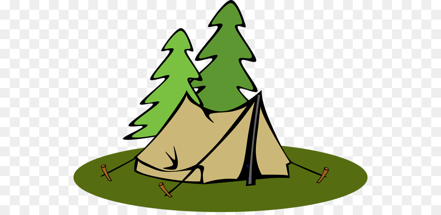 Christmas tree background tent. Campfire clipart campsite