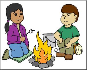 Clip art kids around. Campfire clipart children's