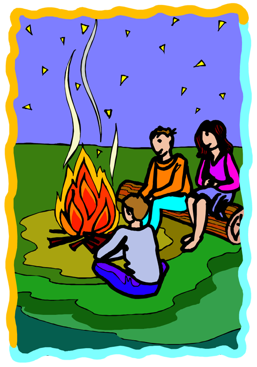 Camping sites circle. Campfire clipart children's