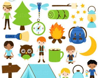 Campfire clipart children's. Camping clip art etsy