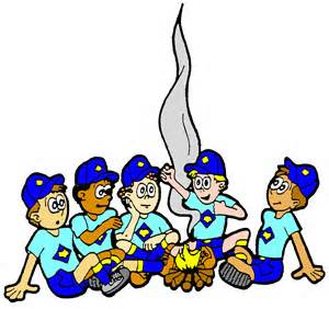 Pencil and in color. Campfire clipart cub scout