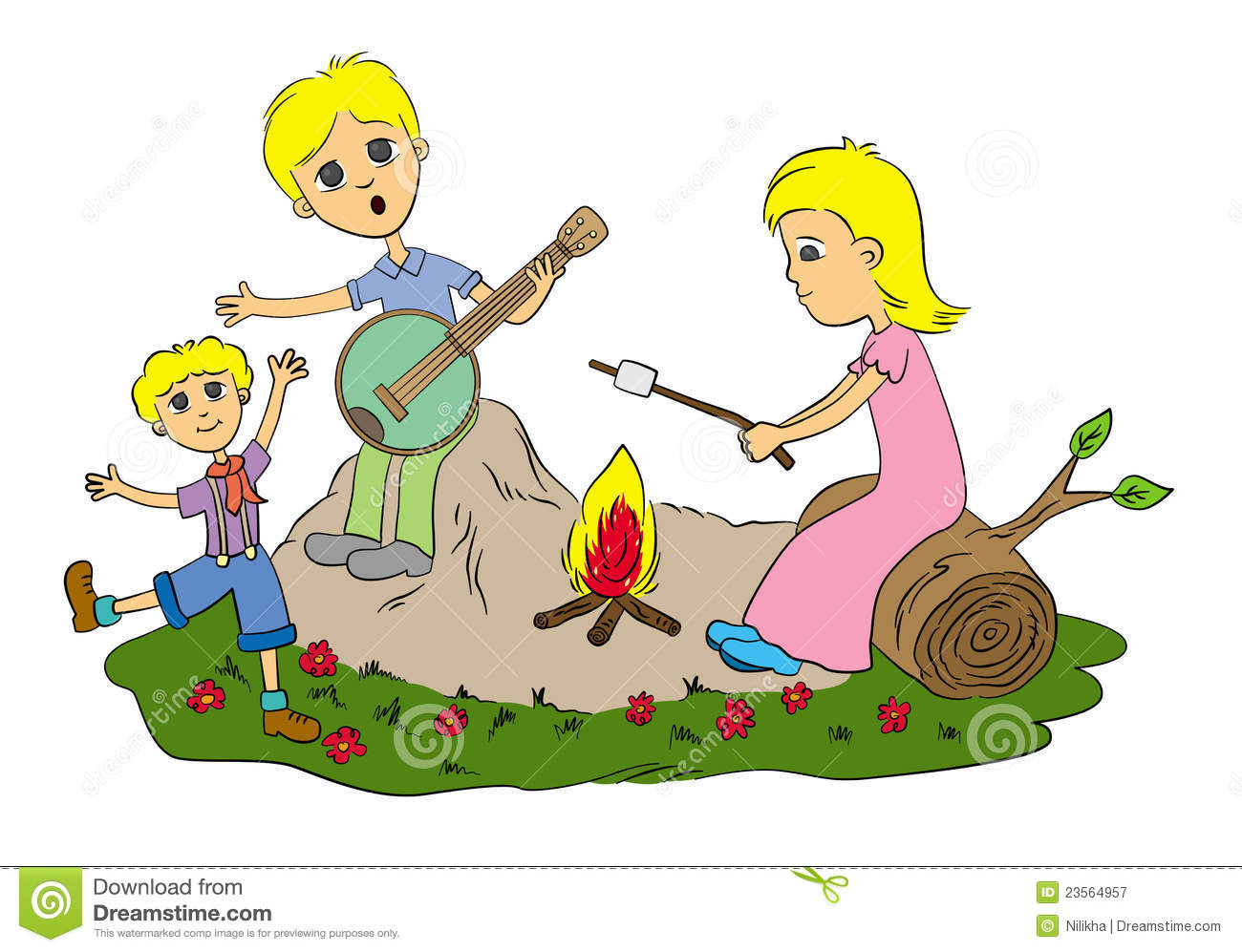 Campire pencil and in. Campfire clipart dance