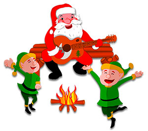 Campfire clipart dance. Free christmas animations santa