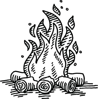 Campfire clipart draw. Camp fire drawing art