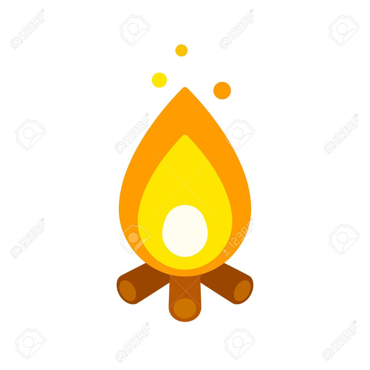 Icon group illustration burning. Campfire clipart easy
