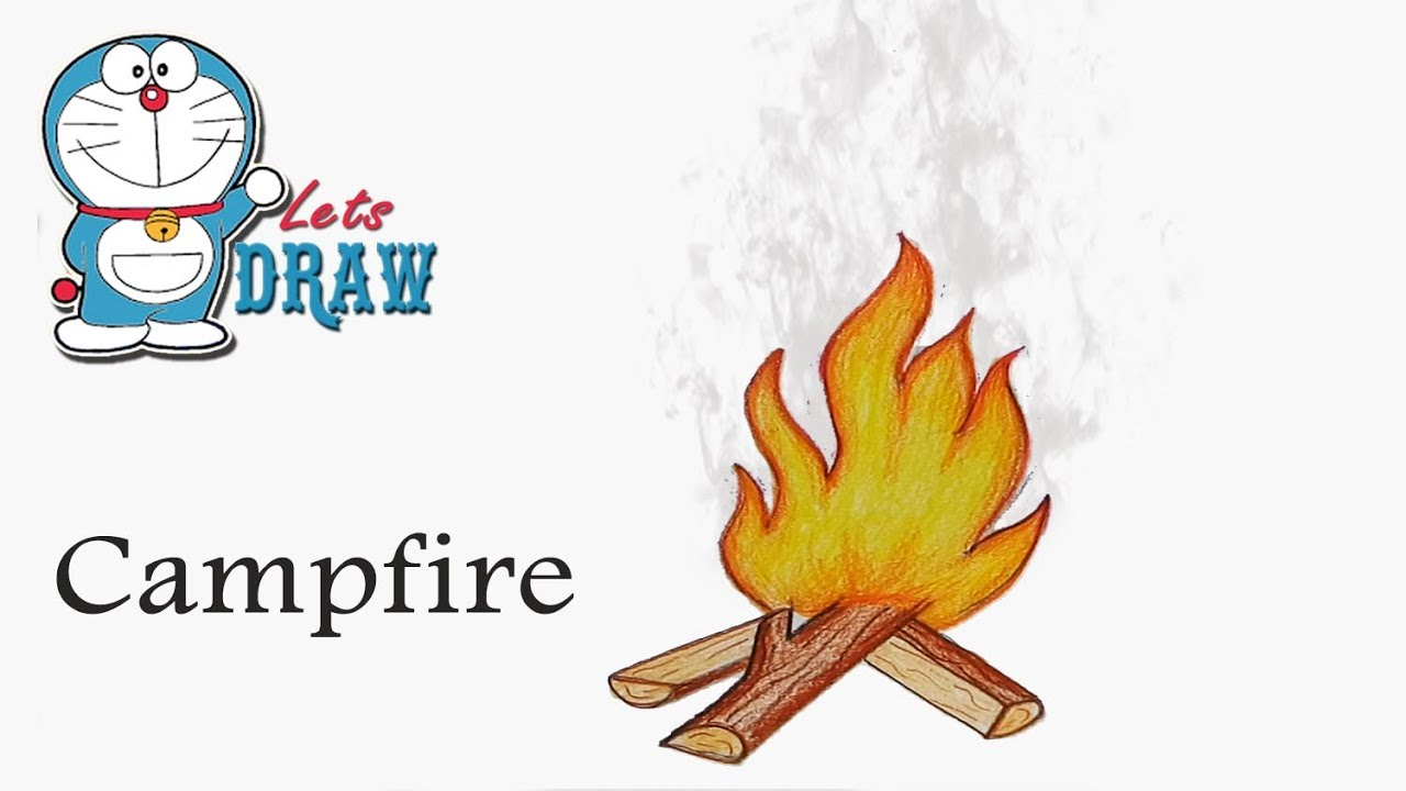 Campfire clipart easy. How to draw step